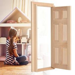 1:12 Doll House Mini Wooden Door for Dolls DIY Dollhouse Fur