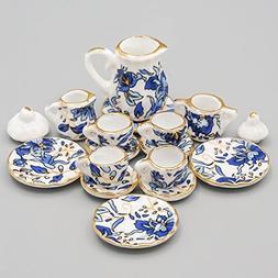 Odoria 1:12 Miniature 15PCS Blue Porcelain Chintz Tea Cup Se