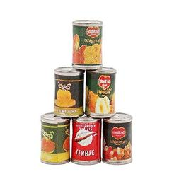 Odoria 1:12 Miniature Food 6PCS Fruit and Pilchard Cans Doll