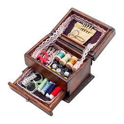 Odoria 1:12 Miniature Vintage Sewing Box with Needle Kit Dol