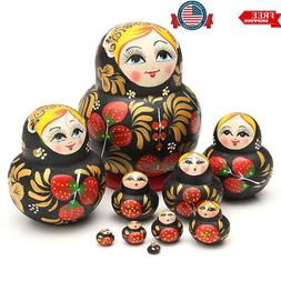 10 in 1 Hand Painted Wooden Matryoshka Nesting Toys Russian