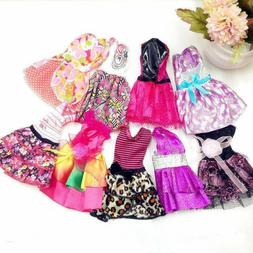 10 Pack Cute Doll Clothes Party Gown Outfits Shoes Glasses N
