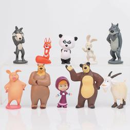 10 PCS Masha and The Bear Action Figures Set Party Toys Doll