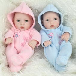 "10"" Twins Reborn Baby Dolls Full Vinyl Silicone Babies Lifel"