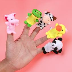 10X Animal Finger Puppets Set Soft Cartoon Velvet Dolls Prop