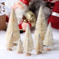 10x Christmas Small Tree Ornament Pine Tree Snow Frost Party