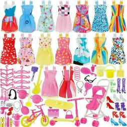 114 Pcs Fits Barbie Doll Party Clothes Gowns Outfits Accesso