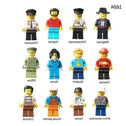 12pcs Professional City Dolls Building Blocks Figures Brick