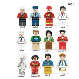 12pcs Professional Role City Dolls Building Blocks Figures B