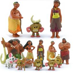 12Pcs Set Movie Moana Action Figure Dolls Toys Kids Party Ca
