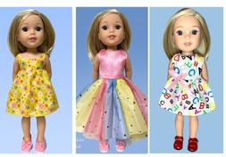14 Inch Doll Clothes Lot 3 Outfits With Shoes Rainbow Dress