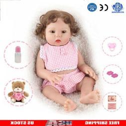 "16"" Full Body Reborn Baby Girl Dolls Silicone Vinyl Handmade"