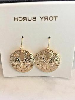 TORY BURCH 16k  GOLD PL SAND DOLLAR DROP LOGO STAMPED EARRIN