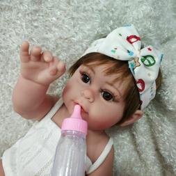 "17"" Full Body Silicone Reborn Baby Doll Lifelike Waterproof"