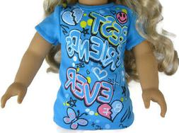 """For 18"""" American Girl Doll Clothes Exclusive Blue BFF T-Shir"""
