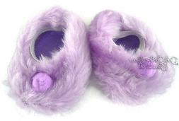 "For 18"" American Girl Doll Clothes Lavender Fuzzy Slippers A"