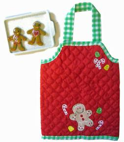 "For 18"" American Girl Dolls Gingerbread Man Christmas Apron,"