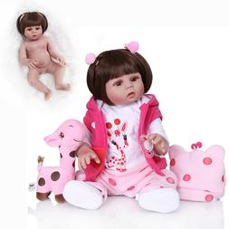 """18"""" Cute Newborn Girl Doll Full Body Silicone Reborn Baby Do"""