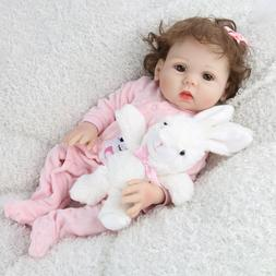 "18"" Full Body Silicone Reborn Baby Dolls Lifelike Bathing Gi"