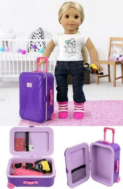 """18"""" inch Doll Travel Luggage Suitcase Playset for American"""