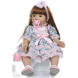 24'' Lifelike Reborn Baby Dolls Soft Silicone Baby Girl Doll