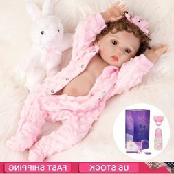 "18"" Washable Reborn Baby Dolls Full Body Silicone Vinyl Real"