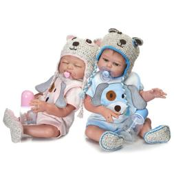 "1Pair  20"" Twins Reborn Doll Full Body Silicone Great Gifts"
