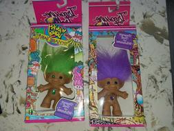 "2 3"" Treasure Troll Dolls Wishstone Wacky Doos Stylable Hair"