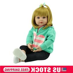 "22"" Handmade Toddler Reborn Baby Girl Dolls Soft Silicone Vi"