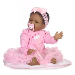 """African American Baby Doll for Girls 22"""" 55cm Silicone Rebor"""