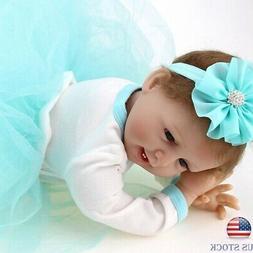 "22"" Realistic Reborn Baby Dolls Girl Vinyl Silicone Newborn"