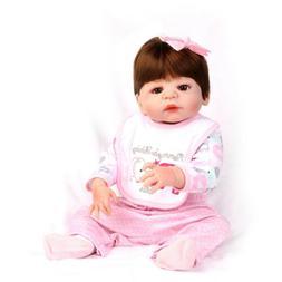 "22"" Reborn Baby Dolls Full Vinyl Silicone Newborn Girl Doll"