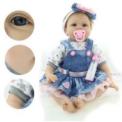 "22"" Reborn Baby Dolls Lifelike Newborn Vinyl Silicone Baby G"