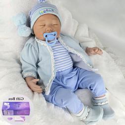 "22"" Reborn Baby Dolls Silicone Vinyl Real Lifelike Newborn G"