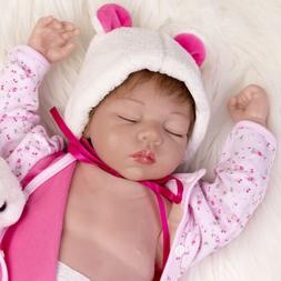 "22"" Silicone Vinyl Belly Reborn Baby Dolls Lifelike Sleeping"