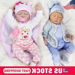 22'' Twins Lifelike Newborn Babies Silicone Vinyl Reborn Bab