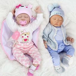 "22""Twins Reborn Baby Doll Newborn Vinyl Silicone Handmade Do"