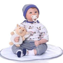22inch Reborn Toddler Dolls Soft Silicone Head with Cloth Bo
