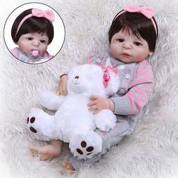 "23"" Reborn Baby Doll Full Body Silicone Handmade Realistic W"