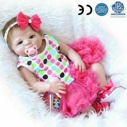 "23""Reborn Full Body Silicone Girl Baby Doll Newborn Preemie"