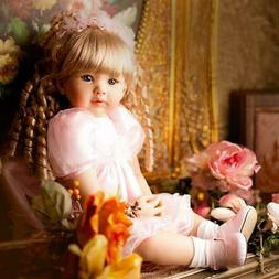 "24""Soft Silicone Vinyl Reborn Baby Doll Lifelike Toddler Gir"