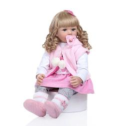 "24"" Reborn Baby Dolls Weighted Cloth Body Toddler Girl Doll"