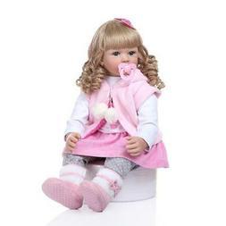 "24"" Toddler Reborn Baby Dolls Blonde Curls Princess Girl Dol"