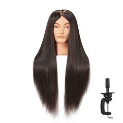 """26""""-28"""" Cosmetology Mannequin Head Human Hair Hairdressing T"""