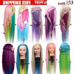 27'' Colorful Long Hair Mannequin Doll Practice Head Hairdre