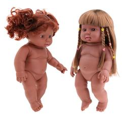 2PCS 12inch Newborn Baby Doll Silicone Vinyl African America