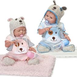 "2Pcs Newborn Twins Dolls 20"" Boy Girl Full Body Silicone Vin"