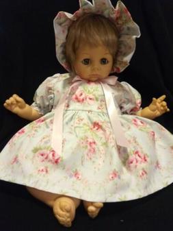 "3 PIECE FLORAL DRESS SET FOR 22"" MADAME ALEXANDER BABY DOLL"