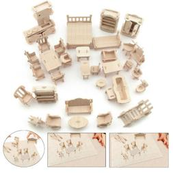 34Pcs/ Set Vintage Wooden Furniture Dolls House Miniature To