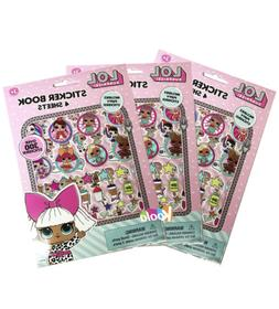 3pcs  LOL Surprise Sticker Book with Puffy Stickers Party Fa